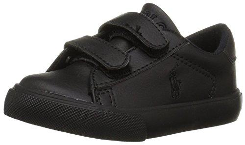 Polo Ralph Lauren Kids Boys' Easton EZ Sneaker, Triple Black Tumbled, 7 Medium US Toddler