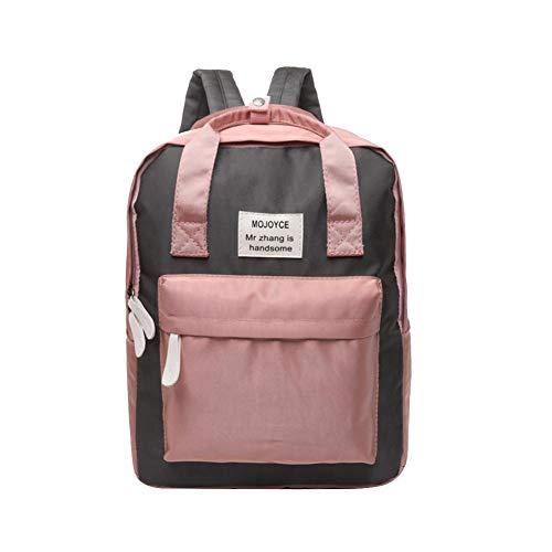 Diamondo Waterproof Women Backpack Letter Print Handbag Girl School Bag (Pink Black) -