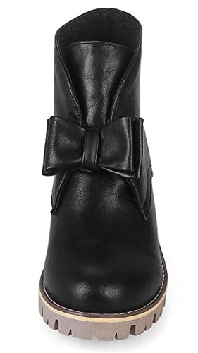 Ankle Short Platform Boots Heels On IDIFU Comfy Chunky Black Women's Bows Mid Pull Booties gqSz1wPS