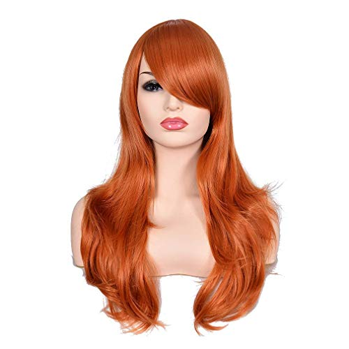 Morvally 23 inches Long Wig Big Wavy Heat Resistant Synthetic Straight Hair with Bangs for Cosplay Costume Halloween Party (2735# Ginger Orange)]()