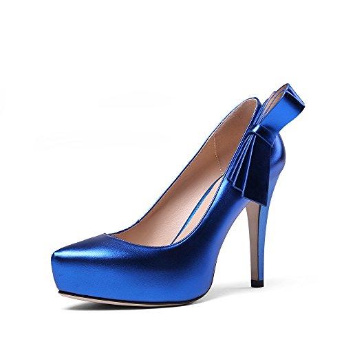 10b6b1e15d5 Nine Seven Cuero Plataforma Puntiagudos Tacones de Tacón Aguja con Lazo de Vestir  para Mujer Azul