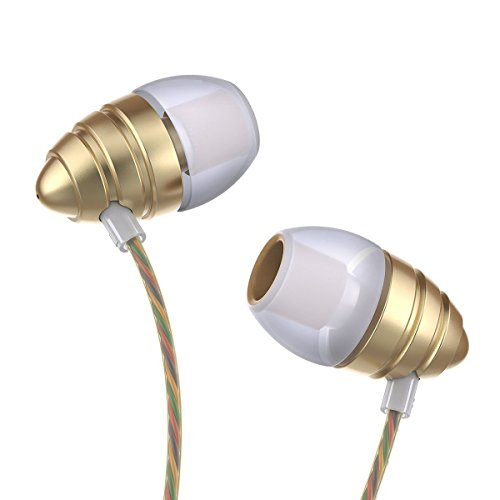 Corded Perfume Earphones High-fidelity Audio Heavy Bass Stereo Sport Earbuds Headphones with Remote Control/Noise Isolating/Crystal Sound/Long Cord for iPhone Apple PC Computer Android phones (Gold)