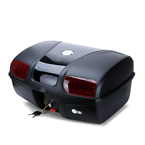 (AUTOINBOX Universal Motorcycle Rear Top Box Tail Trunk Luggage Case,47 Litre Hard Case with Mounting Hardware ,Black)