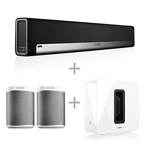 Sonos 5.1 Home Theater System with Pair of Play:1 (2 Items) Bundle with PLAYBAR TV Soundbar (1 Item) and SUB (1 Item) – White