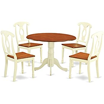 East West Furniture DLKE5 BMK W 5 Piece Dining Table And 4 Kitchen Chairs Dublin Set