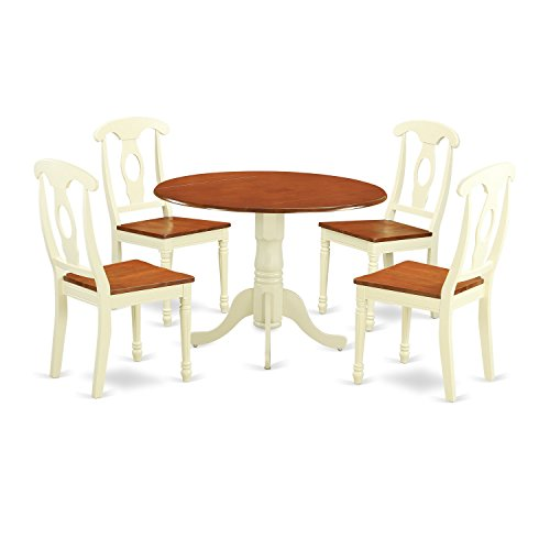 Wood Round Dinette - East West Furniture DLKE5-BMK-W 5 Piece Dining Table and 4 Kitchen Chairs Dublin Set