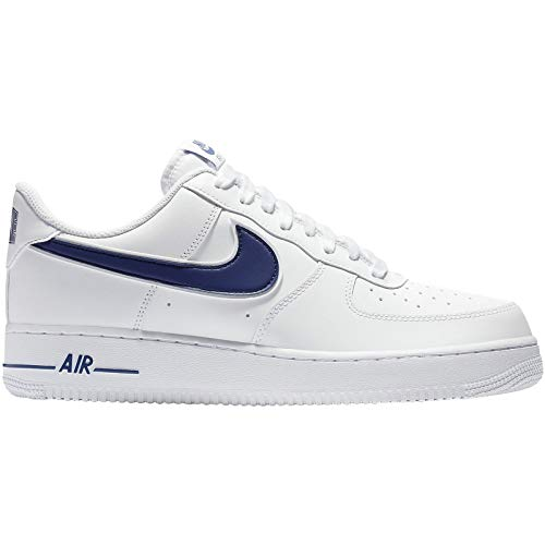 Nike Mens Air Force 1 07 3 Leather Synthetic White Deep Royal Trainers 11 US (3 Mens White Shoes Trainers)