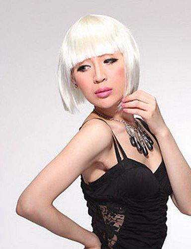 Sin Capucha Corto Bob sintético peluca blanca pelo liso de alta calidad
