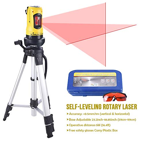 - Line Laser Level with Tripod, Auto Leveling Kit Combo with Horizontal/Vertical/Cross-Line, Dual-module Self-Leveling Tool Set for Builders & Contractors