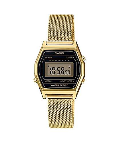 Casio LA690WEMY-1 Women's Vintage Youth Gold Tone Mesh Band Alarm Chronograph Digital Watch ()