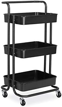 alvorog 3-Tier Rolling Utility Cart Storage Shelves Multifunction Storage Trolley Service Cart with Mesh Basket Handles and Wheels Easy Assembly for Bathroom, Kitchen, Office Black