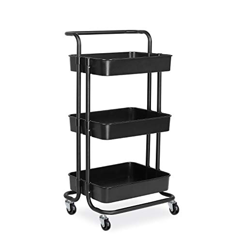alvorog 3-Tier Rolling Utility Cart, Heavy Duty Storage Organizer Multifunction Mesh Basket Standing Shelf with Handles and Wheels for Bathroom, Kitchen, Office, Library, Salon & Spa (Black)