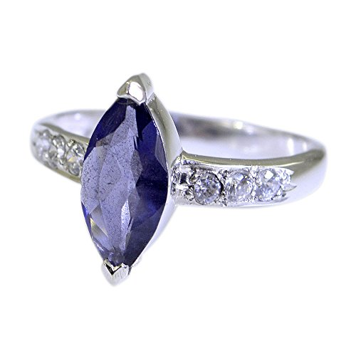 55Carat Natural Gemstone Marquise Shape Iolite Ring Silver For Women In Size US 5,6 ,7,8,9,10,11,12,13 (Gemstone Iolite Ring)