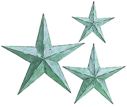 Bellaa 21352 Star Metal Wall Decor Set 3 Green Blue 12/18/24 inch