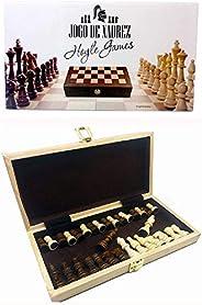 Jogo Xadrez Dobrável Peças E Tabuleiro De Madeira 29 x 29