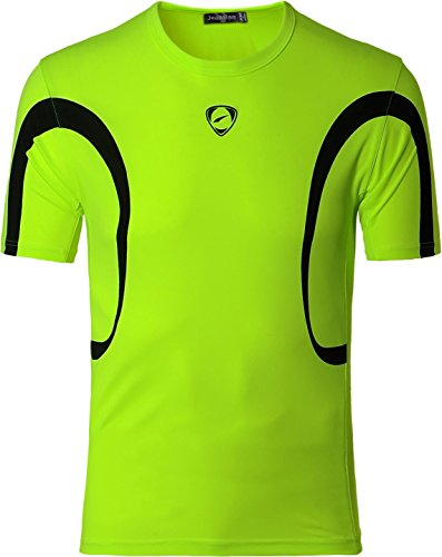 jeansian Uomo Asciugatura Rapida Sportivo Casuale Slim Sports Fashion Tee T-Shirts Camicie LSL161 GreenYellow M