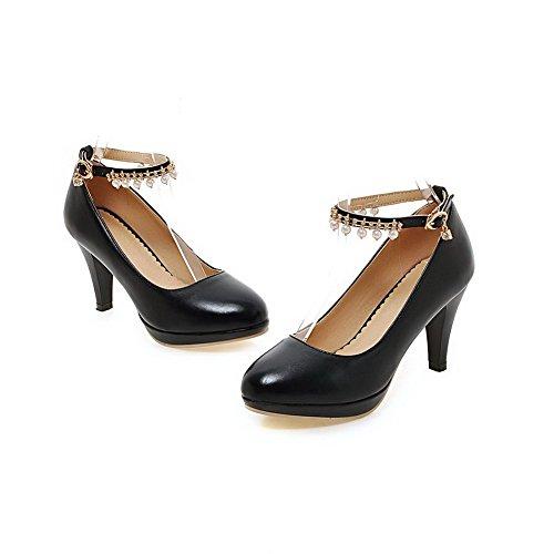 AllhqFashion Damen Eingelegt Weiches Material Schnalle Rund Zehe Pumps Schuhe Schwarz