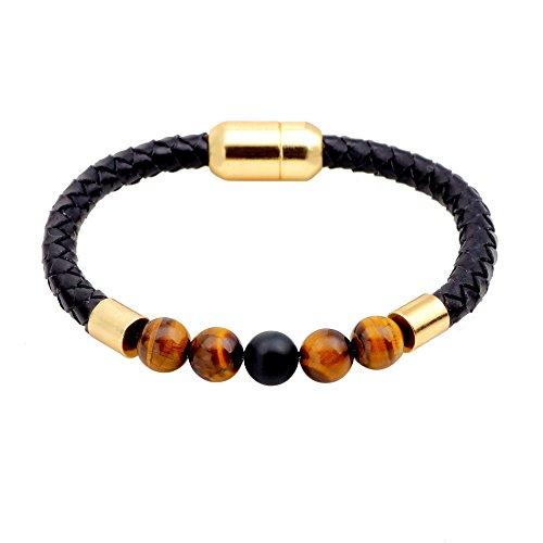 Brilendid Mens Womens 7mm Tiger's Eyes 7 Chakras Beads Black Onyx Stones Braid Leather Bracelets Energy Healing Gemstone Bracelets With Stainless Steel Magnetic Buckle (Tiger (Tiger Buckle)