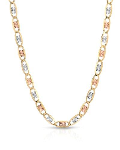Three Tone Necklace - MCS Jewelry 10 Karat Three Tone Yellow Gold/White Gold/Rose Gold Necklace (20
