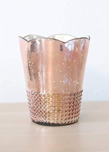 wedding containers Mercury Glass Floral Rose Gold Vase - 7.5