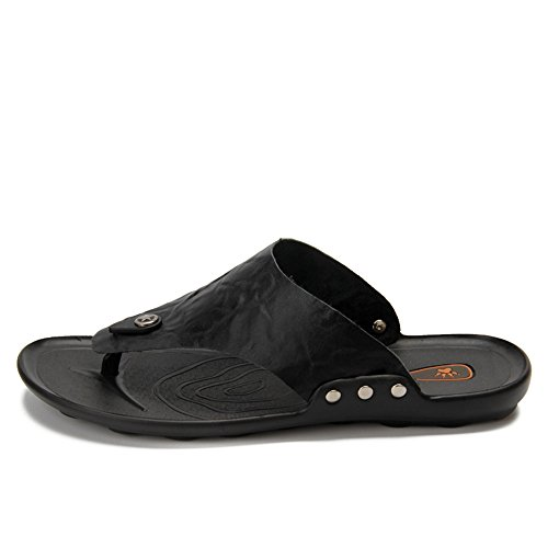 shoes 39 para Genuino Suela Sandalias Antideslizantes Zapatillas de Hombre Hombre Zapatos Ancha EU Black Cuero Blanda Casual Size Chanclas Color Brown Banda de Juans Tanga Playa AqpdfgwA