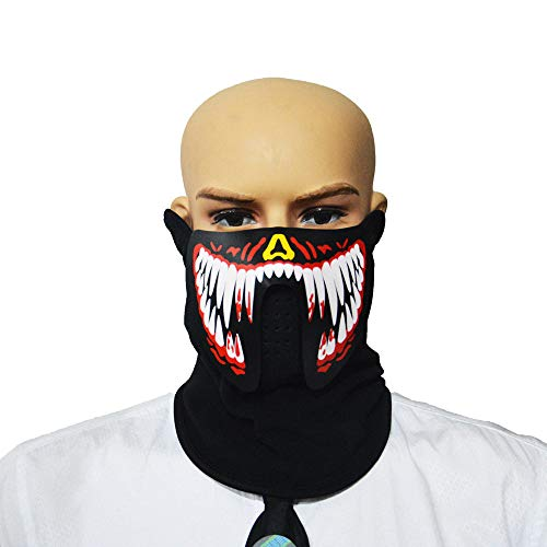 Staron  LED Light Up Mask - Halloween Cosplay Mask Sound Reactive Half Face Mask LED Glow Flashing Mask Dance Rave EDM Plur Festival Party LED Mask (D) ()