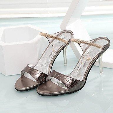 LFNLYX La mujer Casual PU Confort Verano tacones Stiletto talón hebilla Rosa blanco plateado caminando Silver