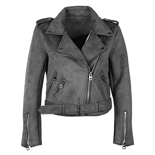 Powlance Jackets for Women Solid Color Winter Turn Down Collar Zipper Suede Short Jacket Coat Gray