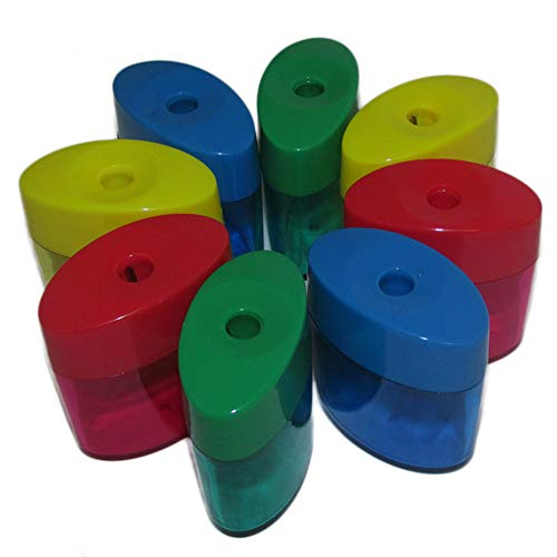 (Mega Set Of 24 Single Hole Triangular Shaped Pencil Sharpener With Cover and Receptacle! Comes In Red, Blue, Yellow, and Green Colors! By Mega Stationers)