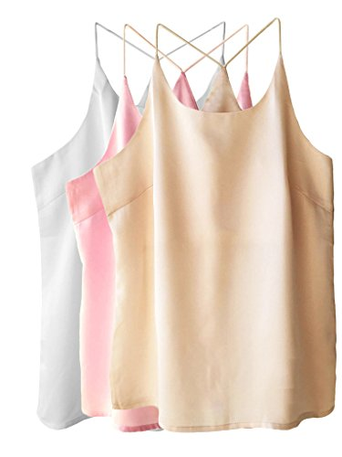 (Wantschun Womens Silk Satin Camisole Cami Plain Strappy Vest Top Sleeveless Blouse Tank Shirt US Size L ;Champagne+Pink+White)