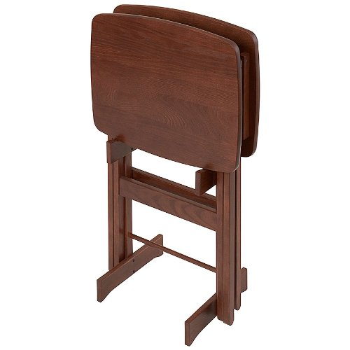 Manchester Wood Contour Folding TV Tray Table Set of 2 - Chestnut