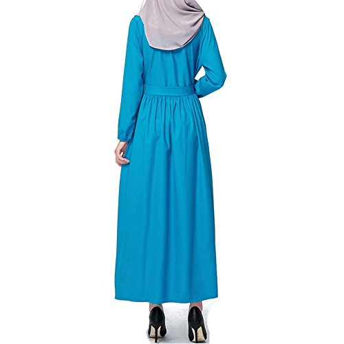 hibote musulmanes color sólido de manga larga túnica Islam Islam túnica vestido impermeables oscilación grande Azul