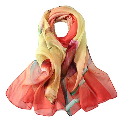 JWSilk Long Silk Chiffon Scarf Floral Print (Red and ()