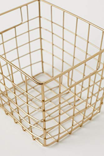 storeindya Metal Wire Mesh Square Brass Plated Utility Basket, Storage Organizer for Kitchen Office Cabinets, Makeup, Bathroom, Laundry, Closets, Garage - Housewarming Gift for Men - Brass Basket