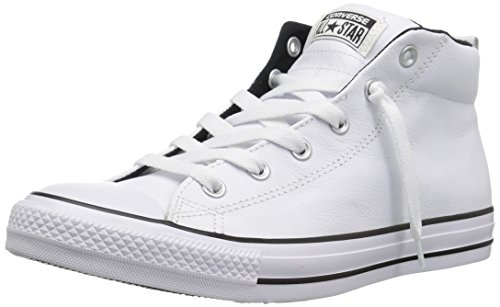 Converse Men's Street Leather Mid Top Sneaker, White/Black, 11 M US (Shoes Black Converse Leather)