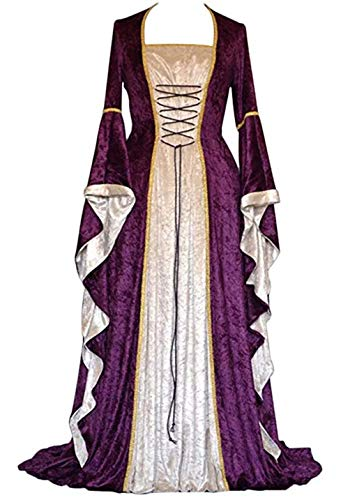 - ★QueenBB★ Womens Renaissance Medieval Costume Dress Lace Up Irish Over Long Dresses Cosplay Retro Gown Floor Length Dresses Purple