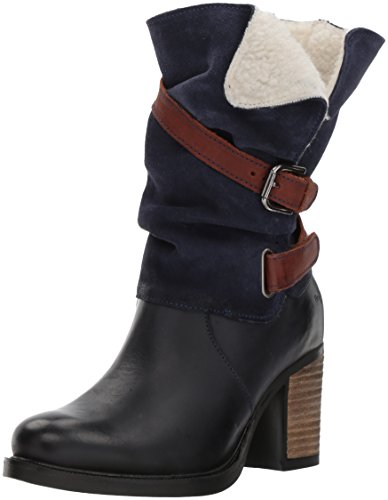 Co Waterproof Suede Boot - Bos. & Co. Women's Borne Mid Calf Boot, Azure/Deep Blue/Dkbrn Varse Leather/Suede/Varse Lea, 38 M EU (7.5-8 US)
