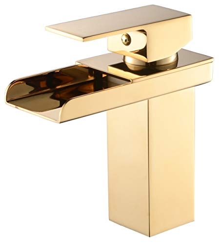 Wideset Bathroom Faucet Finish - Waterfall Bathroom Sink Faucet Brushed Nickel Bronze One Hole Single Handle Deck Lavatory Undermount Vanity Basin Hand Sink Faucet, Gole Finish