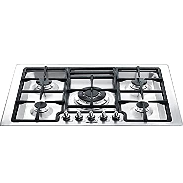 Smeg PGFU30X 30 Classic Gas Cooktop with 5 Gas Burners, Stainless Steel