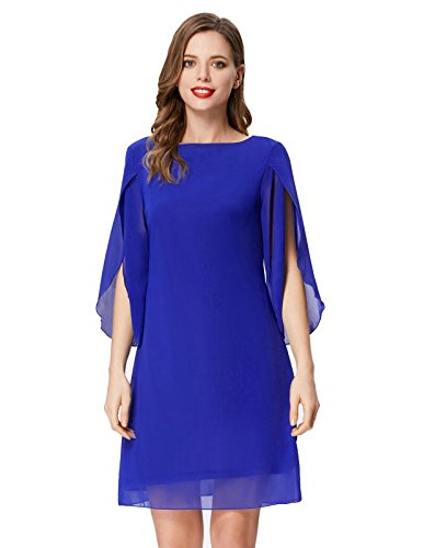 GRACE KARIN Women Casual Loose Chiffon Dress Formal Party Evening Dresses Knee Length Blue L (Wear Party Cocktail)
