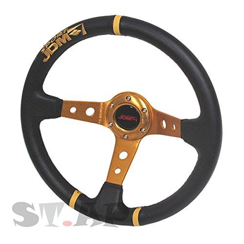 350mm Deep Dish 6 Bolt Steering Wheel Universal Custom (Gold Center JDM 3 Ring) Boss Jdm Racing Steering Wheel