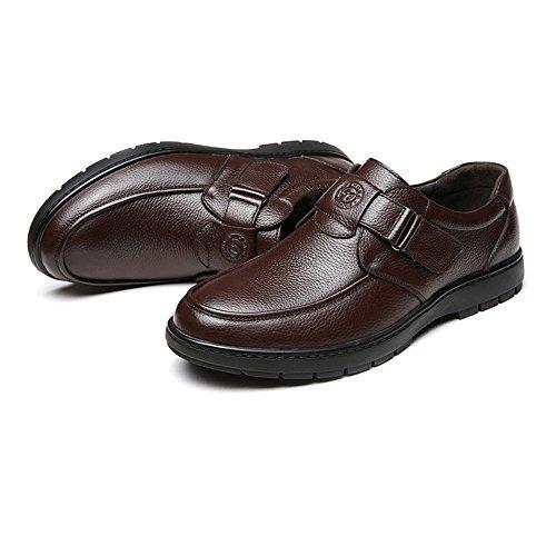 Scarpe 2018 di on Marrone classiche Slip 42 pelle Dimensione Soft da uomo vacchetta Marrone vera Mocassini shoes uomo EU in Flat Slip on Color Hongjun Uv65q5
