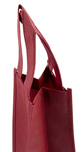 Wine Tote Bags - 20-Pack Non-Woven Single Bottle Wine Totes, Reusable Wine Carrying Bags, Ideal Bottle Gift Bags for Wedding, Birthday, Housewarming, Dinner Parties, Wine Accessories, Burgundy by Juvale (Image #4)
