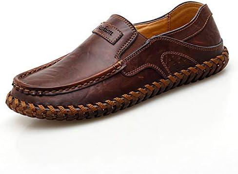 男性用ローファー運転靴スリップオン本革無地手縫い通気性滑り止めカジュアルウォーキング丸いつま先 YueB HAN (Color : 褐色, サイズ : 28.5 CM)