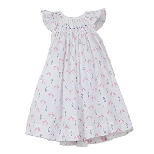 Feather Baby Girls Clothes Pima Cotton Hand-Smocked Angel Sleeve Woven Dress and Bloomer Set -