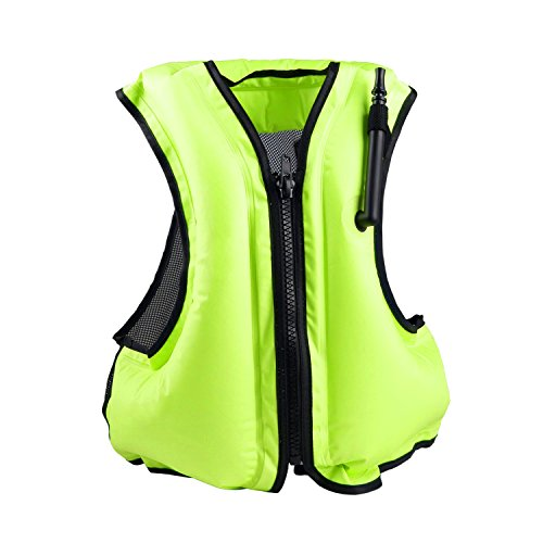 Faxpot Inflatable Life Jacket Adult Swimming Vest for Snorkeling Suitable for 80-220 lbs