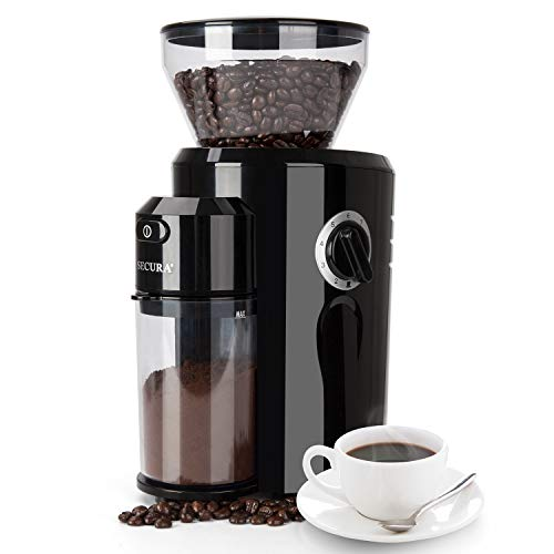 Secura Burr Coffee Grinder, Conical Burr Mill Grinder with 18 Grind Settings from Ultra-fine to Coarse, Electric Coffee…