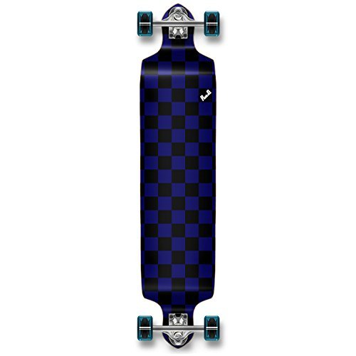 Yocaher Checker Graphic Professional Speed Drop Down Stained Complete Longboard (Checker ()