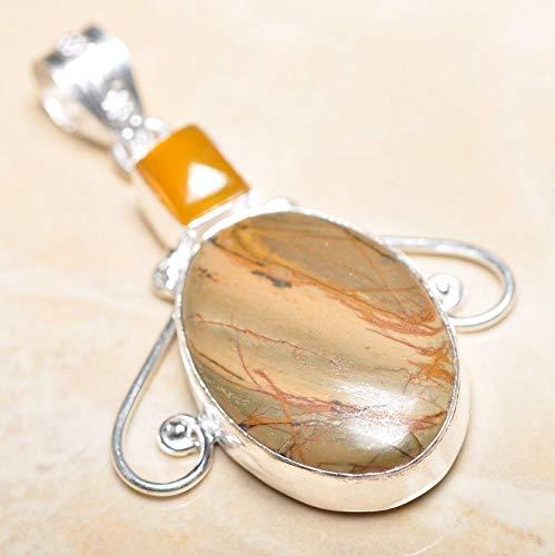 Ocean Jasper Pendant - Handmade Natural Ocean Jasper Gemstone 925 Sterling Silver Pendant 2.5#KS-8228