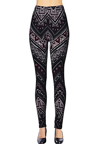 VIV Collection Plus Size Regular Size Printed Brushed Ultra Soft Leggings (Shadowed Daggers) ()